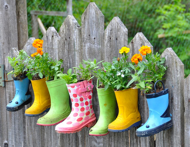 Few Holes For Drainage In The Bottoms, Fill Them With Soil And There You  Go! A Great Colorful Planter That Your Kids Will Enjoy Helping You With 🙂