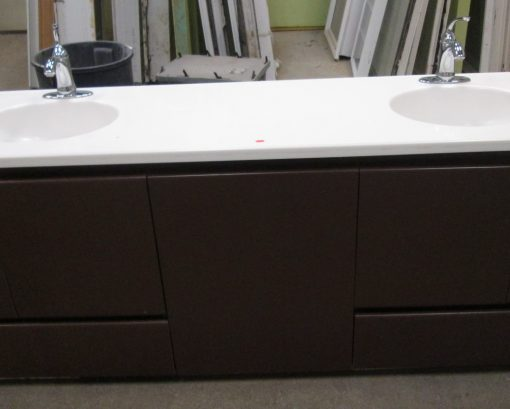 Bathroom Cabinet with Corian Counter & Double Sinks & Faucets