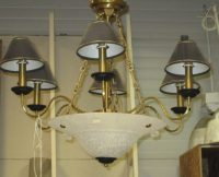 6 Light Hanging Fixture with Shades