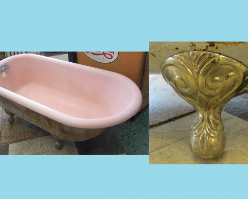 Antique 5′ Cast Iron Tub with Ornate Feet