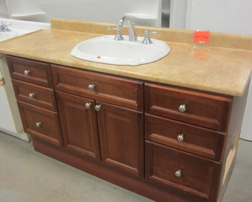 Vanity Complete w/Countertop, Sink & Faucet – Cherry Wood finish.