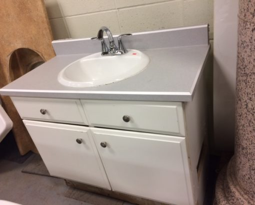 White Bathroom Vanity with Sink & Faucet